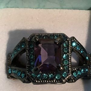 Purple stone blue CZ black ring